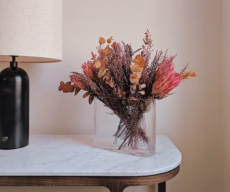 preserved flower bouquet in living room